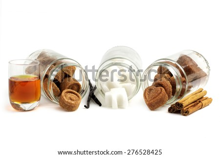 assortment of flavored sugar cubes isolated on white - stock photo
