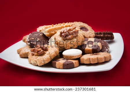 assortment of french bakery in a plate - stock photo