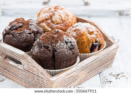assortment of fresh delicious muffins, closeup - stock photo