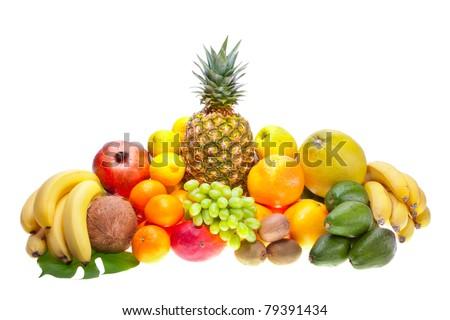 Assortment of fresh fruits - stock photo