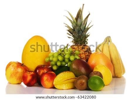 Assortment of fresh fruits, isolated on white - stock photo