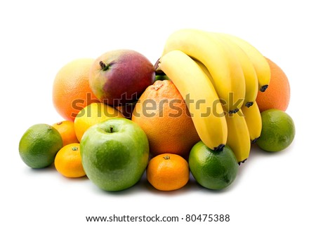 Assortment of fresh fruits on white background