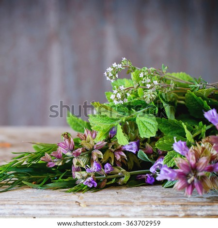 Assortment of fresh herbs mint, oregano, thym, blooming sage over old wooden background. Natural day light. With copyspace on top. Square image with selective focus - stock photo