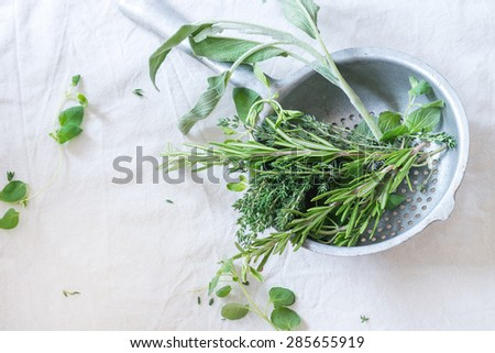 Assortment of fresh herbs thyme, rosemary, sage and oregano in old colander pan on white textile as background. Top view. - stock photo