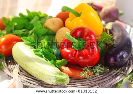 Assortment of fresh vegetables and herb - stock photo