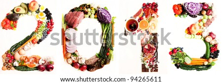 Assortment of Fresh Vegetables and Meats Arranged in 2013 - stock photo