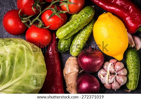 Assortment of fresh vegetables close up - stock photo