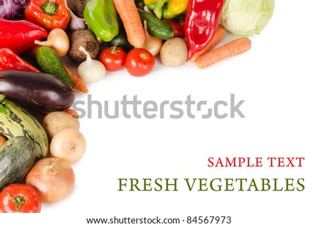 Assortment of fresh vegetables  isolated on white - stock photo
