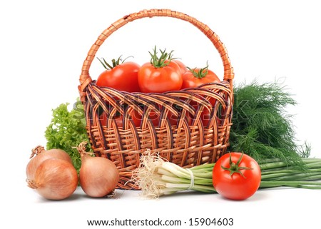 assortment of fresh vegetables isolated over vhite
