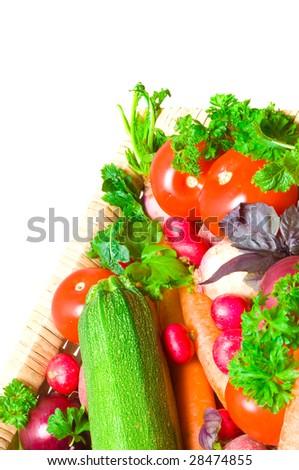 Assortment of fresh vegetables on box - stock photo