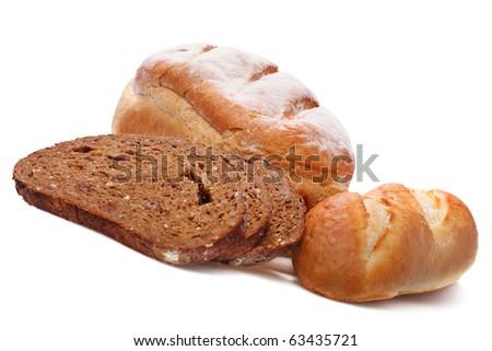 Assortment of freshly baked bread  isolated on white - stock photo