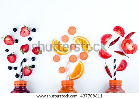 Assortment of fruit and vegetables smoothies - stock photo