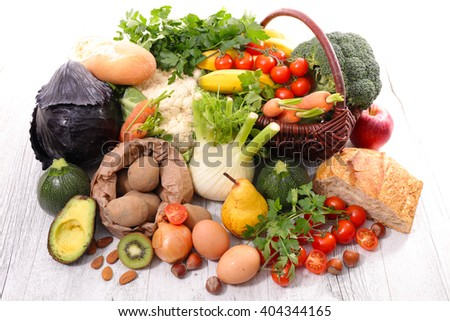 assortment of fruit,vegetable,healthy food - stock photo