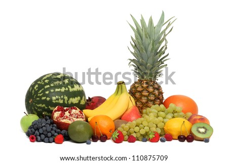 Assortment of fruits and berries isolated on white background - stock photo