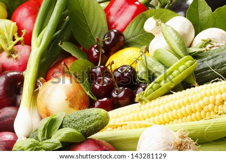 Assortment of fruits and vegetables - stock photo