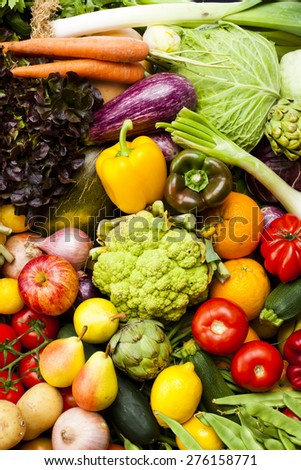 Assortment of fruits and vegetables Nutritious and healthy food - stock photo