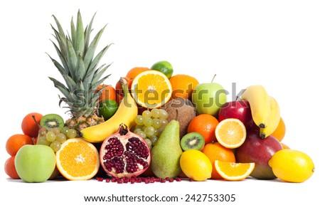 Assortment of fruits isolated on white - stock photo