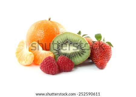 Assortment of fruits isolated over a white background - stock photo