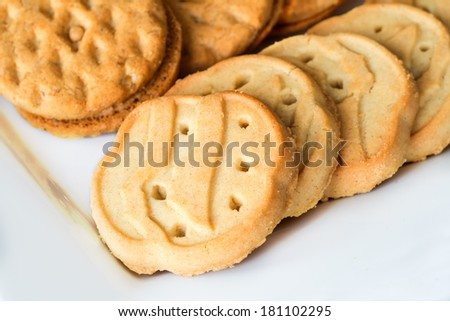 Assortment of Girl Scout cookies on plate - stock photo