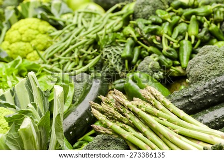 Assortment of green fruits and vegetables  Fresh fruits and vegetables background - stock photo