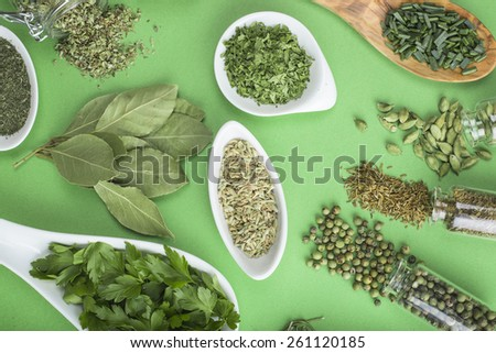Assortment of green herbs and spices on a green background - stock photo