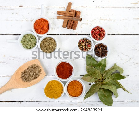 assortment of Indian spices - stock photo