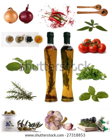assortment of Ingredients, herb, spice on white background - stock photo
