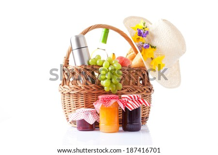 assortment of jam in the glass jars and picnic food - stock photo