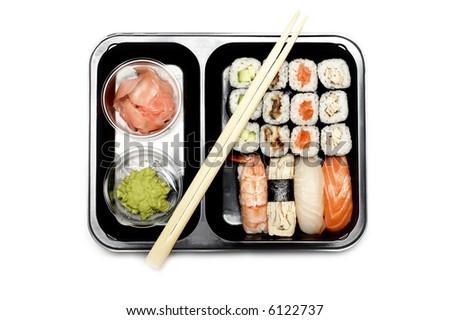 Assortment of Japanese Sushi Set  on white - stock photo