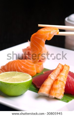 Assortment of Japanese Sushi, traditional food