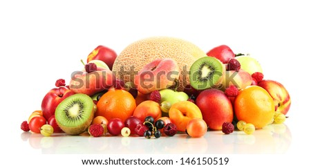 Assortment of juicy fruits, isolated on white