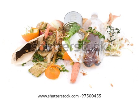 Assortment of kitchen waste waiting to be composted isolated over white background - stock photo