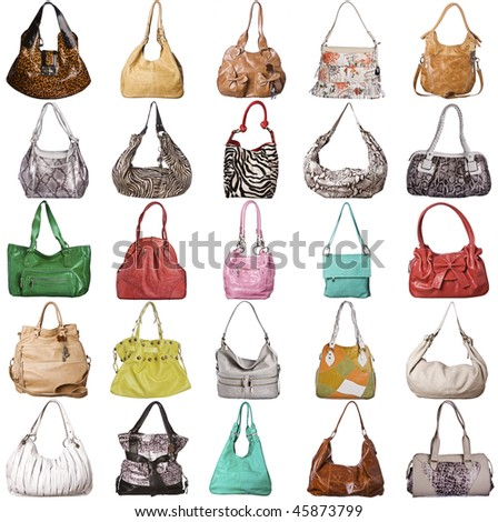 Assortment of leather bags on white background. - stock photo