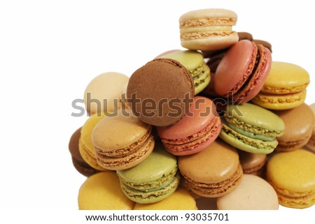 assortment of macaroons on a white background - stock photo