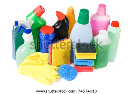 Assortment of means for cleaning isolated - stock photo