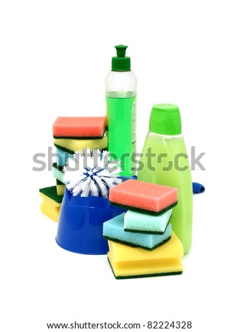 Assortment of means for cleaning isolated on white background - stock photo