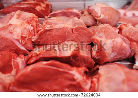 Assortment of meat at a butcher shop