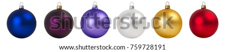 Assortment of multicolor Christmas ball isolated on white background