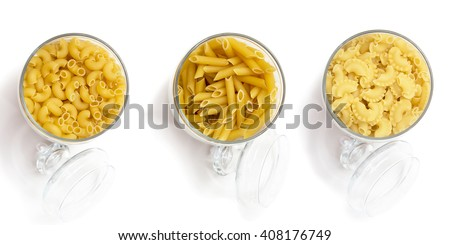 Assortment of noodles and pasta for cooking. Product line a selection of cereals and ingredients in the stores. - stock photo
