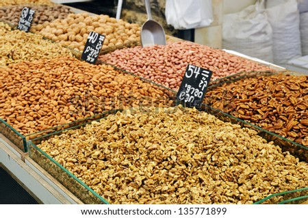 Assortment of nuts and almonds on market stand in Israel