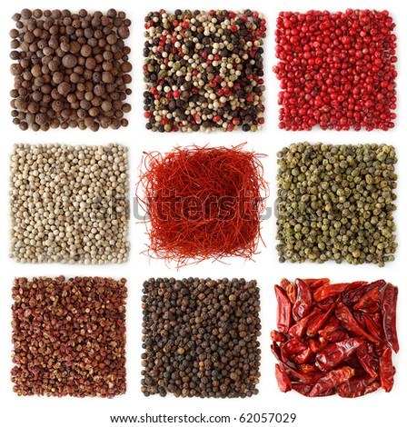 Assortment of peppercorns and chili  isolated on white background - stock photo