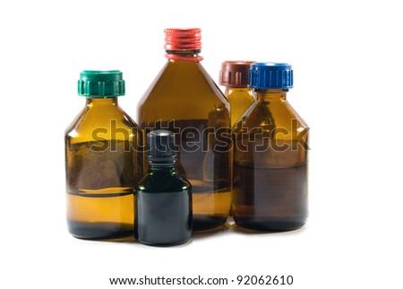 assortment of prescription medicine bottles - stock photo