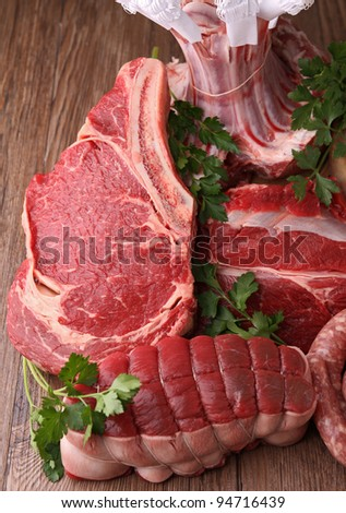 assortment of raw meat - stock photo