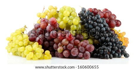 assortment of ripe sweet grapes isolated on white  - stock photo