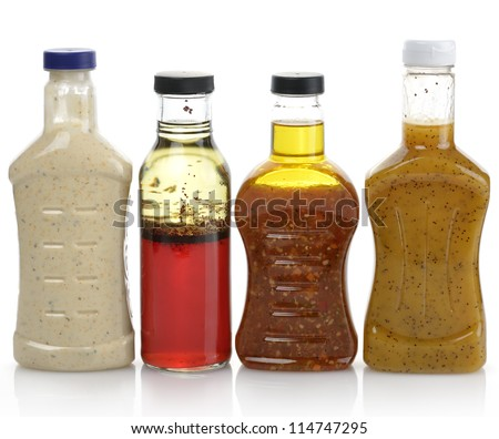 Assortment Of Salad Dressing Bottles - stock photo