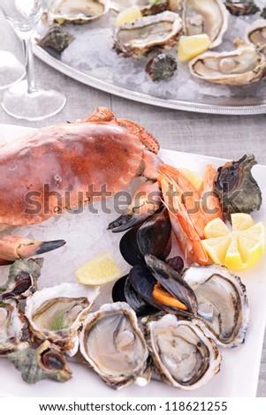 assortment of seafood - stock photo