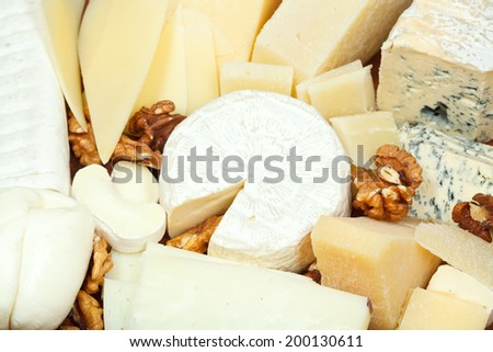 assortment of sliced cheeses and walnuts on plate close up - stock photo
