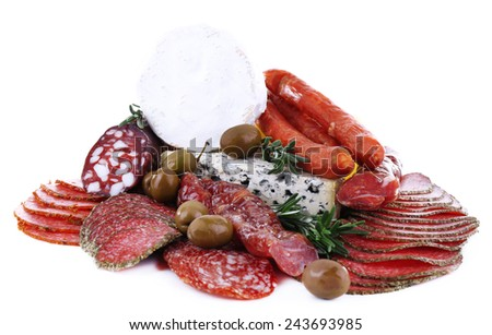 Assortment of smoked sausages with cheese isolated on white - stock photo