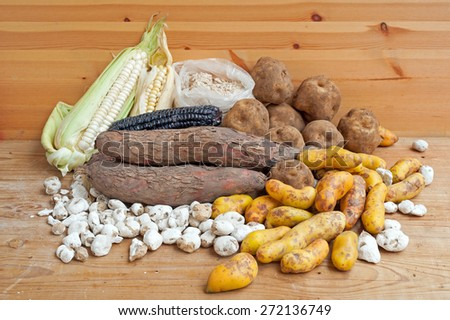 Assortment of South American potatoes and corn. - stock photo