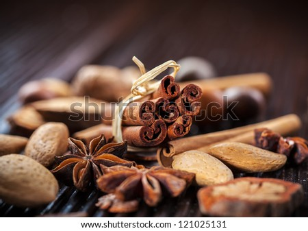 Assortment of spices and nuts for Christmas for baking cookies - stock photo